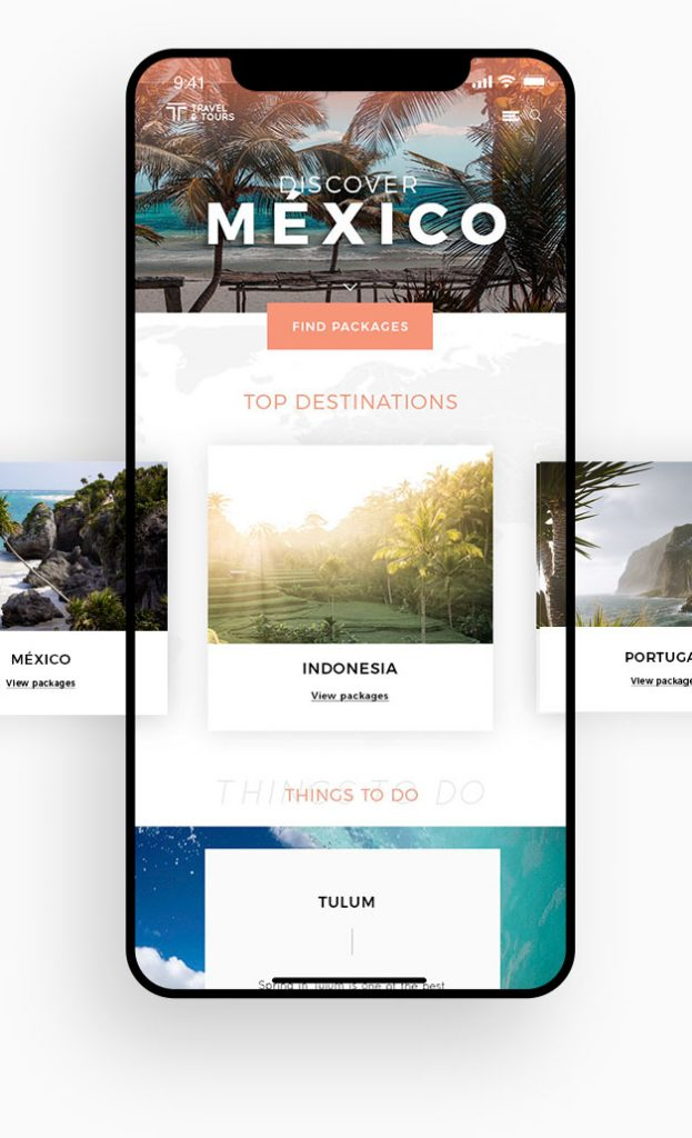 Website mobile responsive concept for a travel agency.