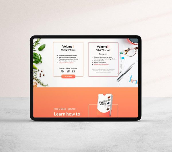 Landing page to promote an E-Book