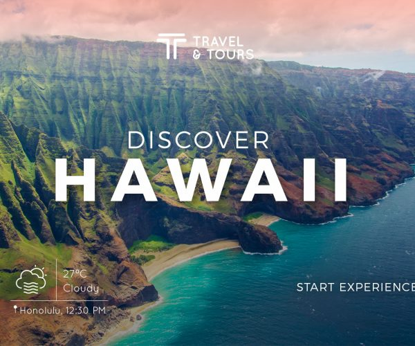 Website concept for a travel agency.